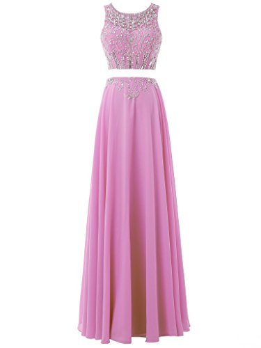 Party Solovedress Women's Gown Gown Evening Long Bridesmaids Chiffon Lilac Beaded Two Prom Pieces Dress vprwvq