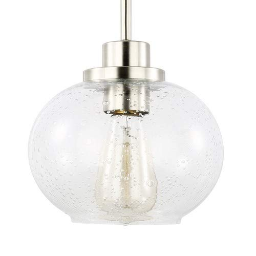Light Society Sheridan Seeded Pendant Light, Satin Nickel with Handblown Clear Glass Shade, Vintage Industrial Modern Lighting Fixture (LS-C244-SN)