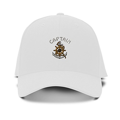 Captain Wheel Anchor Nautical Embroidery Adjustable Structured Baseball Hat White ()