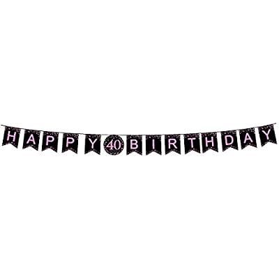 40th Birthday Party Decorations Kit, Tableware Set, Happy Birthday Banner, tablecloths, Plates, Cups, fork, Napkins - 114 Piece Perfect 40 Years Old Party Supplies: Kitchen & Dining