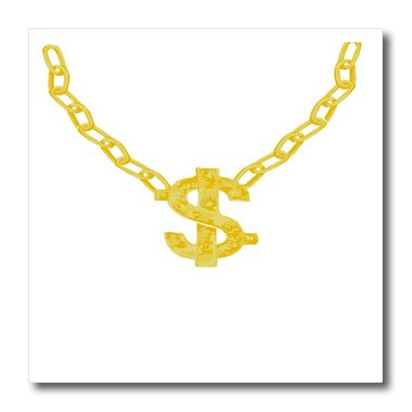 3dRose ht_53527_1 Gold Chain with Dollar Sign-Bling Art-Iron on Heat Transfer Paper for White Material, 8 by 8-Inch
