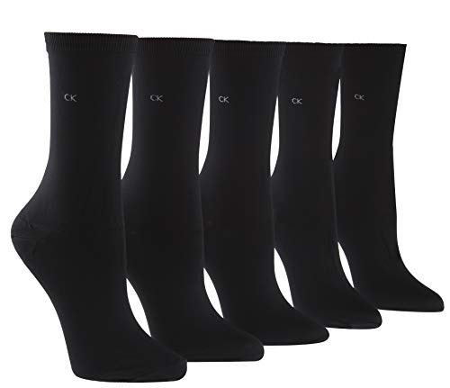 - Calvin Klein Women's Essentials 5 Pair Microfiber Crew socks, Black