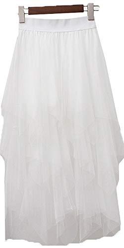 Onlybridal Women's Mesh Tulle Skirt Formal High Low Asymmetrical Midi Tea-Length Elastic Waist Skirt Ivory