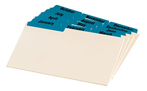 Oxford Manila Index Card Guides with Laminated Tabs, 4 x 6 Inches, Jan-Dec, Blue (04613) - Manila Divider