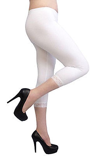 ELEGANCE1234 Elegance Girl's Cotton Crop 3/4 Stretchy Lace Leggings for Casual/Sport/Active (9-10 Years, White)
