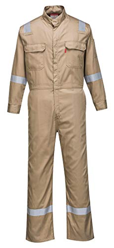 Portwest FR94 Bizflame 88/12 Iona Flame Resistant Long Sleeve Overall Fire Retardant Workwear Coverall, Khaki, Large