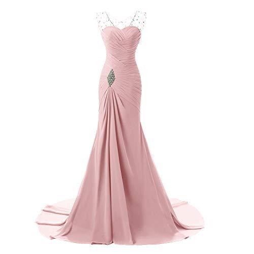 Sirena Busto Plisado Cristal Pink Vestido De Noche Gasa Con Cuentas Para Mujer Novia xU0Uq6AwY