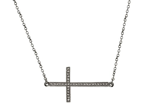 """Fronay Co .925 Sterling Silver Small Midnight Black Sideways CZ Cross Necklace, 16"""""""