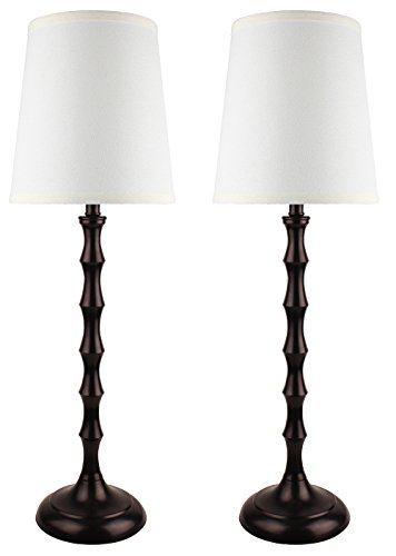 Urbanest Set of 2 Oil-Rubbed Bronze Bahama Bamboo Buffet Lamps with Cream Lamp Shades