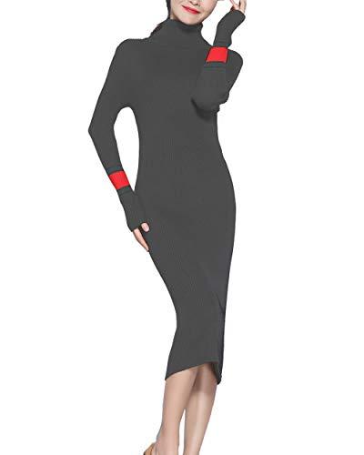 FINCATI Bodycon Pencil Dress Women Cashmere Soft Cozy 2018 Winter Fall Thicken Turtleneck Knee Length Midi Dress (One Size, B-Dark Gray)