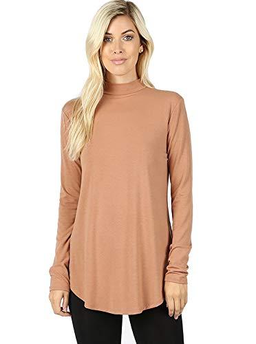 12 Ami Basic Mock Neck Long Sleeve Casual Round Hem T-Shirt Top (S-XXXL)