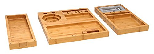 RAW ''Triple Flip'' Bamboo Magnet Rolling Foldable Tray with Built-in Ashtray by RAW (Image #1)