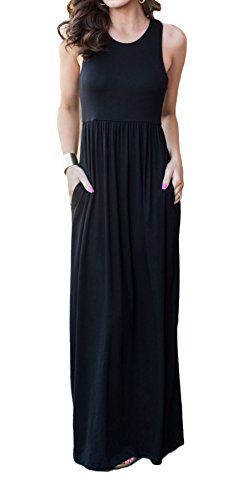 LuckyMore Women Summer Casual Boho Sleeveless Loose Halter Neck Beach Dresses Black - Petite Length