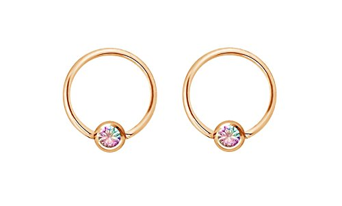 Forbidden Body Jewelry Pair 16g 8mm Rose Gold Tone Surgical Steel Aurora Borealis CZ Captive Bead Piercing Hoops, 3mm Balls ()