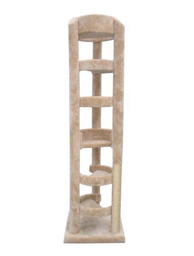 """Molly and Friends """"Elevator"""" Extra-Large 7-Foot-Tall Premium Handmade Cat Tree with Sisal, Beige, My Pet Supplies"""