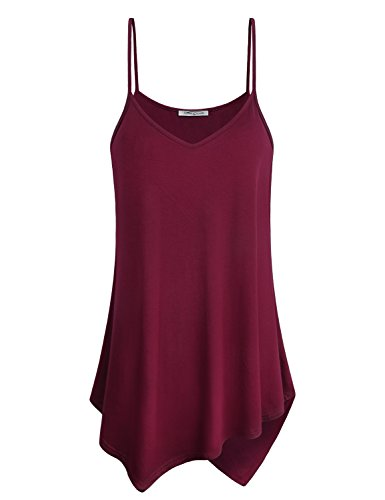 V-neck Vintage Tank Top - SeSe Code Summer Tank Tops for Women Ladies Cami Top Camisole Cotton Vintage Workout Clothes Home Shirt Medieval Clothing Stylish Maroon Pleat Fit Loosely Asymmetrical Tunic Wine Red XL