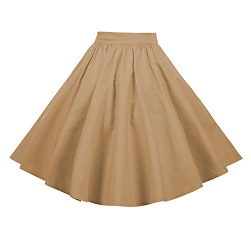 (BI.TENCON Women 1950s Vintage Retro Skirt Khaki Swing Casual Party Skirts X-Large )