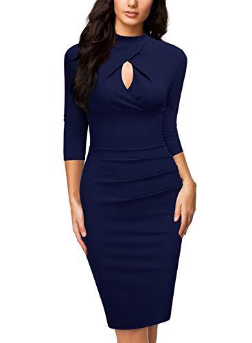 Miusol Women's Business 2/3 Sleeve Work Style Pencil Dress,Medium,Navy Blue (Miusol Women Work Dresses)