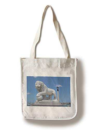 Lantern Press St. Augustine, Florida - Medici Lion Marble Statue - Photography A-92564 (100% Cotton Tote Bag - Reusable)