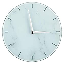 Jofave White Marble Print Round Wall Clock Decorative, Modern Non-Ticking Hanging Clock for Office Home Bedroom. (White)