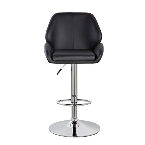 United Office Chair Faux Leather Padded Height-adjustable Swivel Bar Stool Black/ Black by United Office Chair.