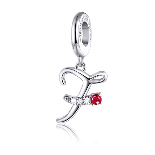 - FOREVER QUEEN 925 Sterling Silver F Letter Initial Dangle Beads Charm Red Zircon Alphabet Pendants for Snake Chain Bracelets Necklace Gift Jewelry for Mother