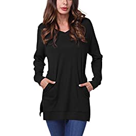 DJT FASHION Womens Fall Long Sleeve Plus Pullover Side Split Loose Casual Tunic Tops
