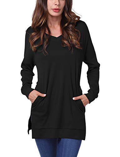 DJT FASHION Womens Casual V-Neck Long Sleeves Side Split Sweater Tunic Tops