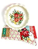 """Pioneer Woman - 9"""" Pie Baking Dish with a Red Base and Kitchen Towels In the """"Vintage Floral Geo """" Pattern Bundled As A Set"""
