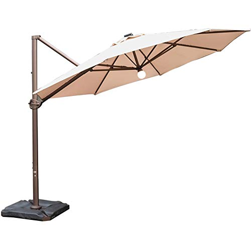 Abba Patio 11 Feet Offset Cantilever Umbrella with Solar Lights, Beige