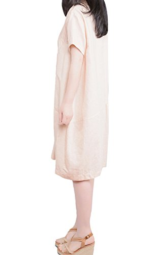 Hole Tide Women's Short Sleeves Crew Neck Cotton and linen Oversized Shift Dress Baby Pink Size US 14
