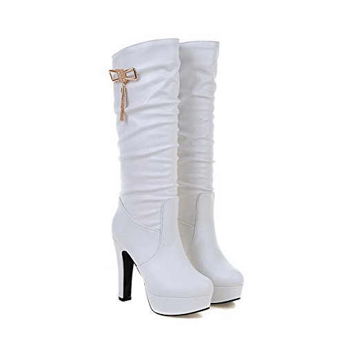Boots High White On Women's AgooLar Closed Heels Toe Solid Round Mid Pull Top CPzqawz