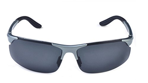 Bronze Times(TM)Sports Sunglasses Polarized Glasses w/ TR90 Elastic Frame + Glasses Box + Cleanning Cloth- light grey/grey