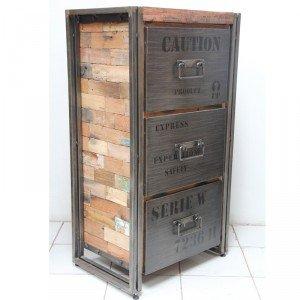 kreasi - meuble industriel factory samudra 3t fer et bois de ... - Meuble De Cuisine Industriel