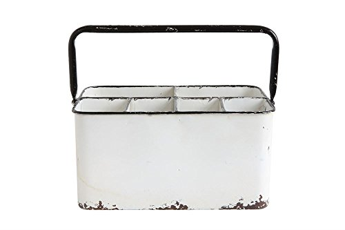 Creative Co-op Distressed Metal Caddy 6 Compartments 60-Non-Food Storage, - Creative Metal