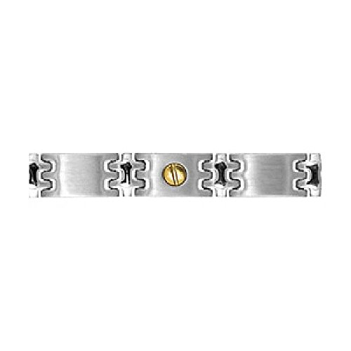So Chic Jewels - Mens Stainless Steel 21 cm Gold Screw Short Link Bracelet by So Chic Jewels