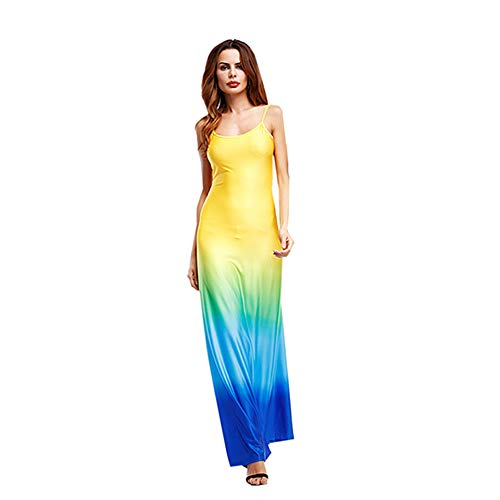 TOTOD Dress - Womens Sleeveless Bohemian Tie-Dye Illusion Print Racerback Long Tank Beach Dress