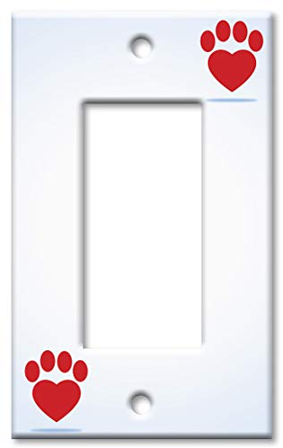 - Art Plates 1-Gang Rocker (Decora) OVERSIZE Switch Plate/OVER SIZE Wall Plate - Red Dog Paw Heart