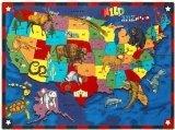 Joy Carpets Kid Essentials Geography & Environment Wild America Rug, Multicolored, 5'4'' x 7'8''