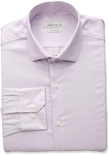 Perry Ellis Men's Very Slim Fit Wrinkle Free Fashion Dress Shirt, Lavender Fog, 17 32/33 ()