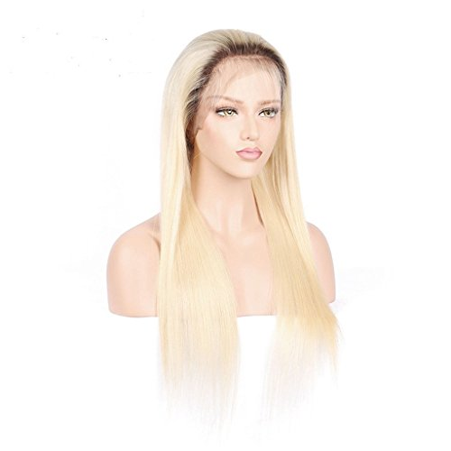 Beeos #4/613 Blonde Ombre Lace Front Wigs with Baby Hair for Women Pre Plucked Virgin Human Hair Wigs Peruvian Straight Glueless Lace Wigs (18Inch) by BEEOS
