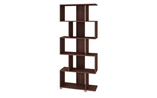 - Manhattan Comfort 18AMC164 Petrolina Midcentury Modern Zig Zag Bookshelf, Nut Brown