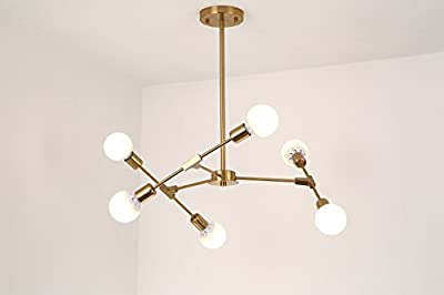 BOKT Mid Century Modern 6-Light Flush Mount Ceiling Light Multi-Adjustable Ceiling Chandelier Lighting Golden Sputnik Kitchen Island Lighting E26/E27 Bulb Sockets