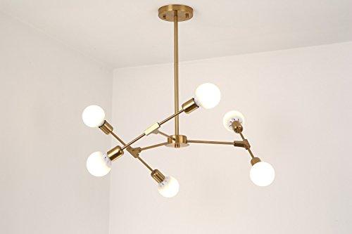 BOKT Mid Century Modern 6-Light Flush Mount Ceiling Light Multi-Adjustable Ceiling Chandelier Lighting Golden Sputnik Kitchen Island Lighting E26/E27 Bulb Sockets