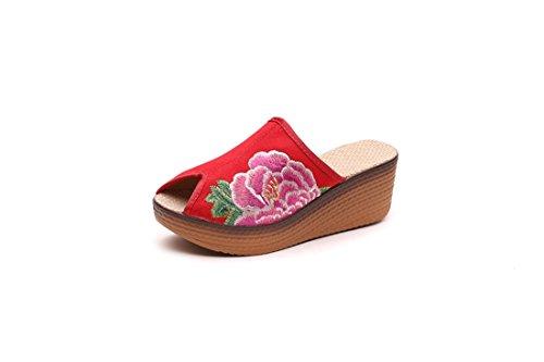 Zapatos de Tela Bordados Altos en Verano Gules