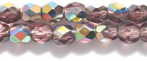 Preciosa Czech Fire 4 mm Faceted Round Polished Glass Bead, Amethyst Vitrail, (Amethyst Czech Glass Beads)