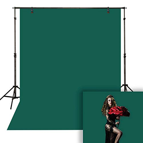 Funnytree 6.5X10ft Polyester Teal Dark Green Solid Color Photography Backdrop Fabric Pure Deep Forest Green Indoor Portrait Background Video Chromakey Cloth Floordrop Photo Studio ()