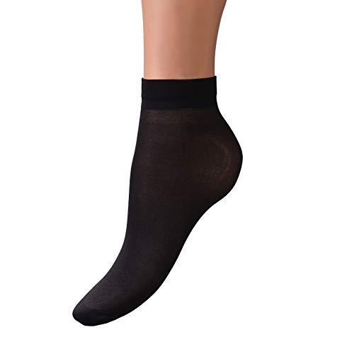 Womens Sheer Ankle Nylon Socks - 8 Pack - Black Transparent Hosiery for Women