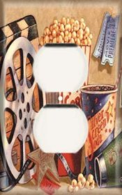 Single Duplex Outlet Cover OVERSIZE - Movie Popcorn