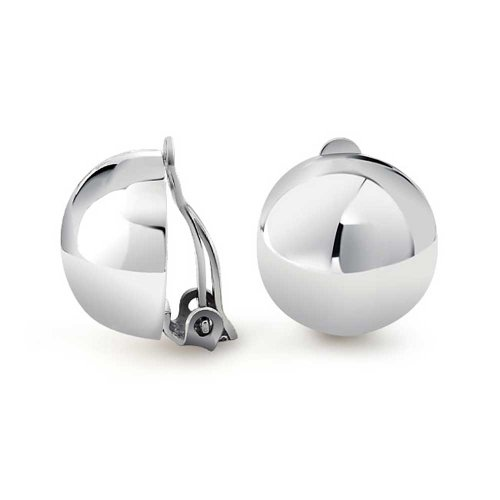 Simple Basic Half Round Ball Polished Clip On Earrings For Women Button Style Alloy Clip 925 Sterling Silver .50 Dia